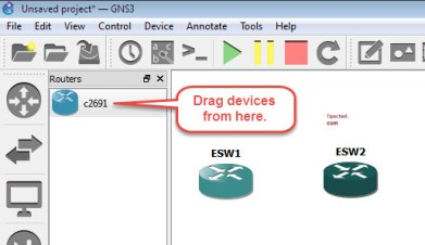 drag router to dashboard in gns3