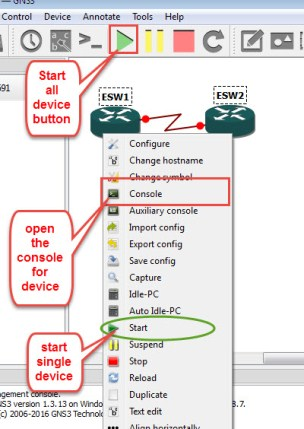 start all device in gns3