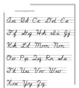 cursive handwriting of english