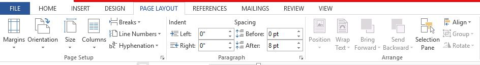 Page layout ms word 2013