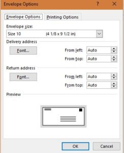 envelopes setting ms word 2013 for mail merge