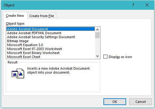 how to add a file or an object in to MS word 2013 document