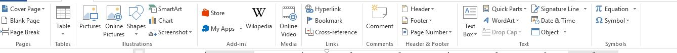 insert tool bar in office MS word
