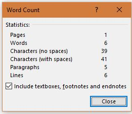 ms word ...word count
