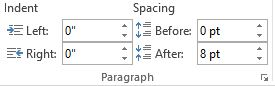paragraph setting in ms word 2013