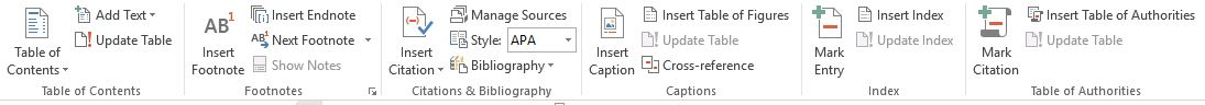 refences tab in ms word