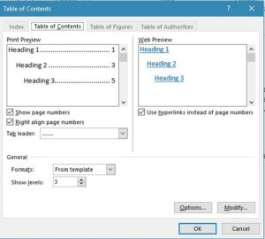 table of contents insertion in ms word 2013
