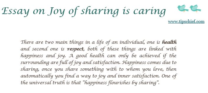 essay on joy of sharing is caring jpg