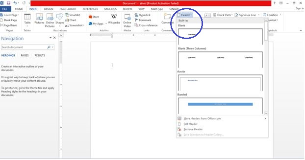 how to you delete header in word