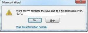 Word experienced an error trying to open the file.